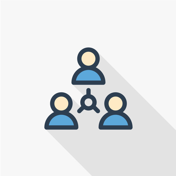 people group, community, network thin line flat color icon. Linear vector illustration. Pictogram isolated on white background. Colorful long shadow design.